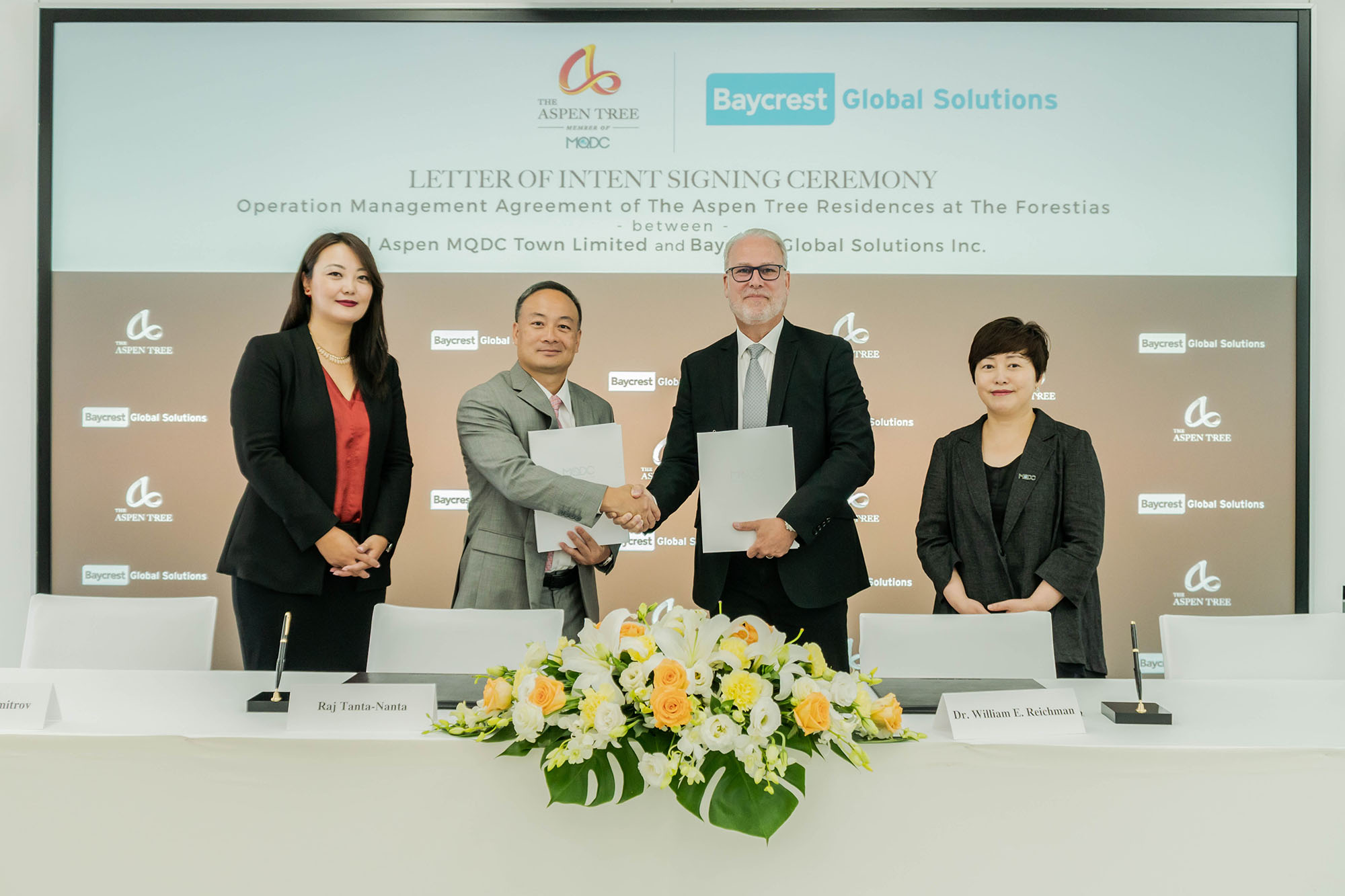 Letter of Intent Signing Ceremony Between The Aspen Tree and Baycrest Global Solutions